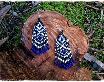 BLACK & WHITE with COBALT dangle earrings  * Native American inspired beaded earrings * boho earrings with fringe * hippie earrings for her