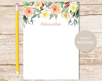 personalized notepad . floral border notepad . watercolor flowers note pad . personalized stationery . flower stationary . botanical, garden
