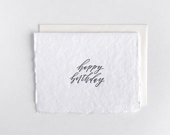 Happy Birthday - Letterpress Card on Handmade Paper