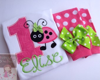 First Birthday Outfit  -- Little Lady - Hot Pink, lime green and black ladybug set - leg warmers and personalized bodysuit