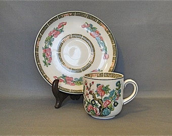 """John Maddock and Sons """"Indian Tree"""" Royal Vitreous Miniature Cup & Saucer"""