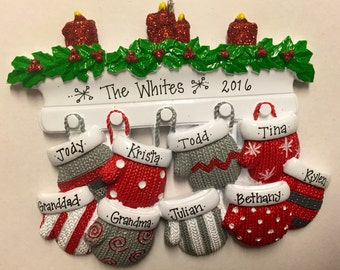 9 Family Mittens Ornament / Personalized Christmas Ornament / Family of Nine Mittens on Mantel / Grandchildren
