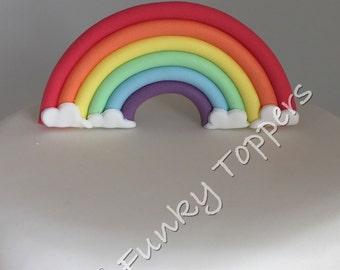Edible Bright Rainbow Fondant Sugar Cake Decorations Standup Birthday
