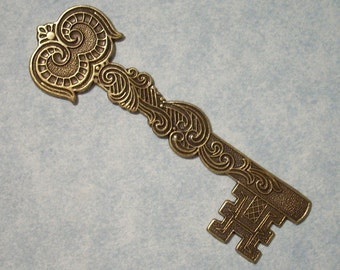Large Castle Key Stamping Victorian Key Pendant Necklace Making Component Skeleton Key Medieval Key Focal Point Brass Key Gothic Key