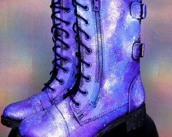 Galaxy Shoes Nebula Space Boots Women's Shoes Galaxy Print Combat Boots  ««« 00POE ««