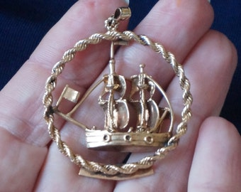 Vintage, Rare 14 Kt Gold Plated Pendant, Ship, Nonsuch