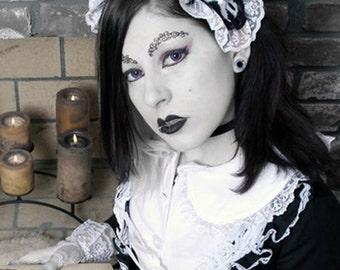 Gothic Lolita Bible Skulls headpiece Headdress white on black Cosplay