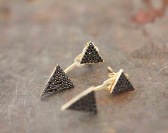 Chaquetas de oído negro de doble triángulo