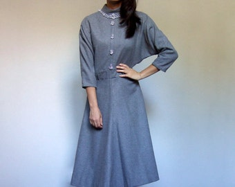 Grey Winter Dress 70s Beaded Batwing Three Quarter Sleeve A-line Fall Dress - Large L