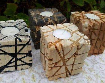 Tea candle holder decorative reclaimed wood gift Christmas wedding advent decor