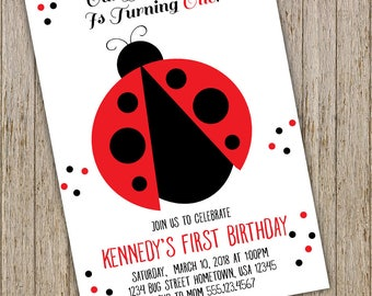 Ladybug invitation, Ladybug birthday invitation, Ladybug party invitation, First birthday invite, girl first birthday invitation