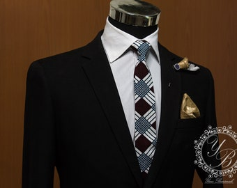Men's Accessories African Print Necktie with Pocket-square