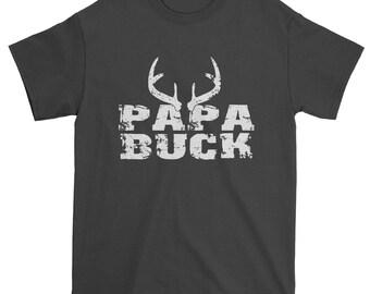 Papa Buck Deer Antlers Mens T-shirt