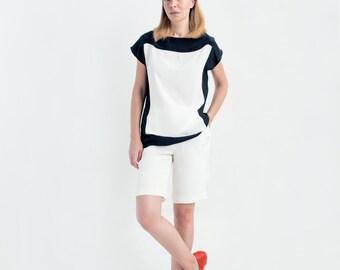 Jolie Color Block Silk Top // Top With Short Sleeves