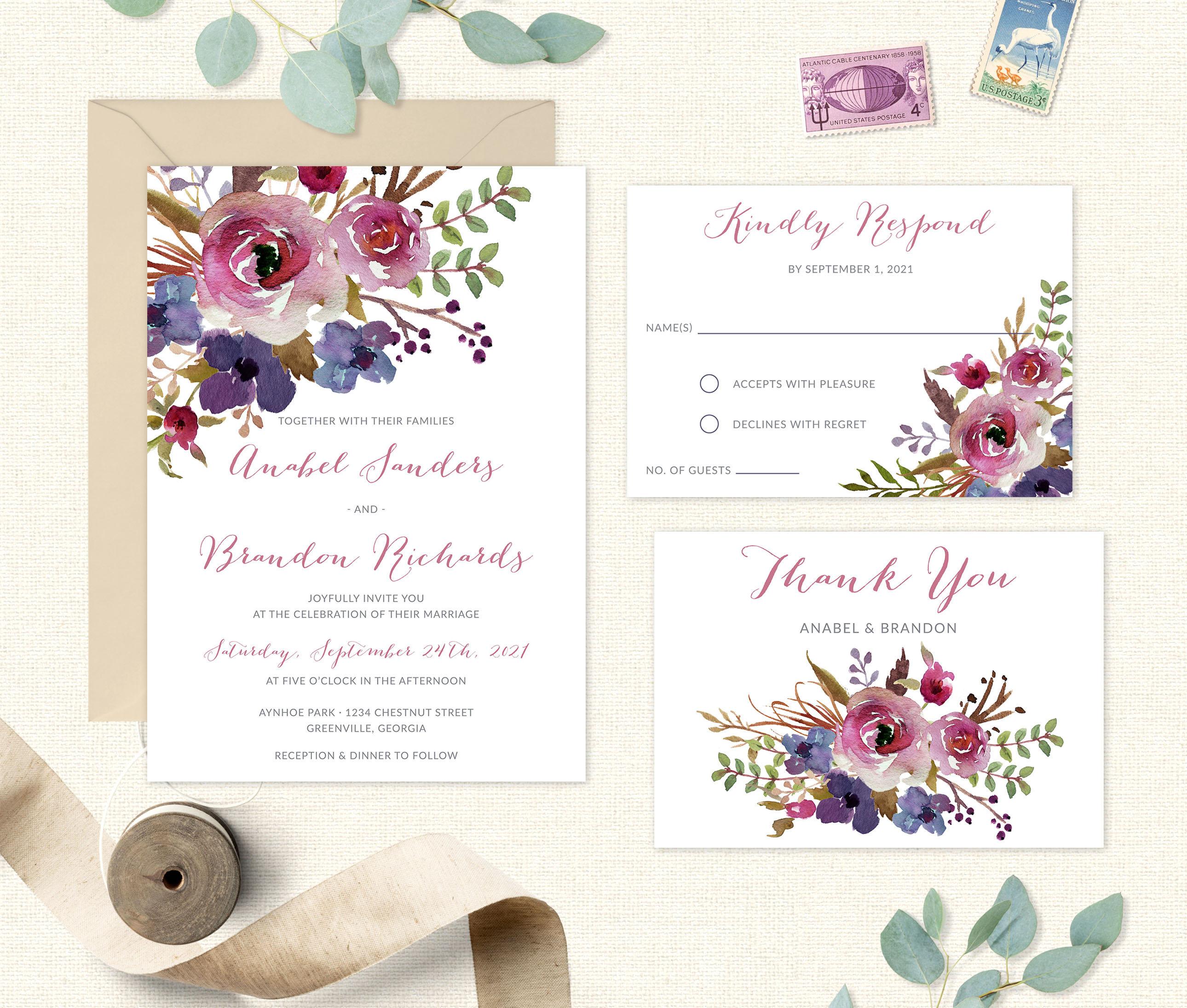 Floral Wedding Invitation. Printable Wedding Invitation.