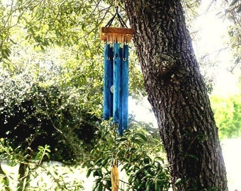 LITTLE SPIRIT Small Copper Wind Chime with Blue Patina