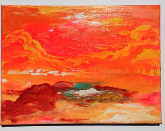 ATMOSPHERE 6 (Orangesphere) original painting pop art meditation decor home mystic modern clouds sunset deco