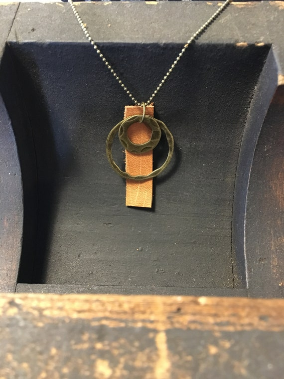 simple leather circle long necklace