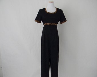 FREE usa SHIPPING Vintage women's black jumpsuit  jumper coverall chic animal print palazzo rayon polyester pant size 7/8