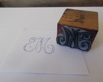 """Large Letter M. Monogram Initial Stamp, French, Initial M.  Antique French Embroidery stamps. Embroidery Stencil.  Letter M Stencil. 1 1/4"""""""