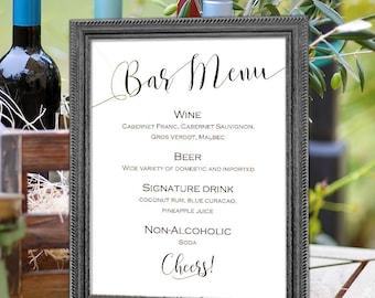 Wedding Bar Menu Sign, Printable, Bar Menu, Template, Instant Download, Sign