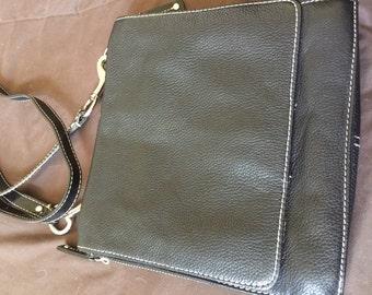 Vintage Black Leather Cross Body Purse Tignanello