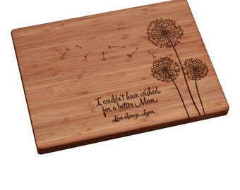 Mother's Day Gift, Personalized Cutting Board, Personalized Mother's Day Gift, Mothers Day Gift, Gift for Mom- Dandelion Design