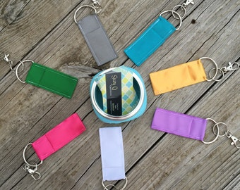 Solid Color Chapstick Holder Keychain