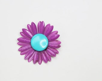Enamel Brooch, Daisy,Flower, Turquoise and Magenta, Vintage Pin