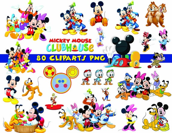 instant dl 80x mickey mouse clubhouse clipart printable rh etsy com mickey mouse clubhouse birthday clipart mickey mouse clubhouse clipart free
