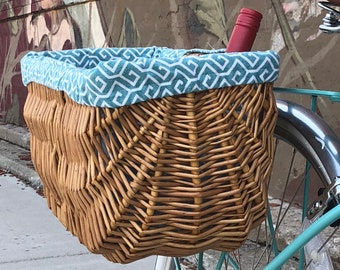 Wicker Bike Basket with Custom Liner
