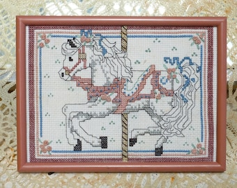 Circus Crosstitch, Vintage Cross Stitch,   Carousel Pink Pony,    Fantasy Carnival Pony Ride, Little Girl's Room,  Framed Fantasy Art