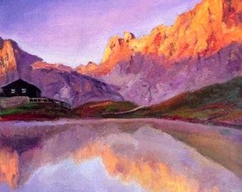 Orange mountain.Mountain paintings.Oil on hardboard.Oil on canvas.Landscape oil paintings hadmade.Oil paintings handmade.Bright painting.