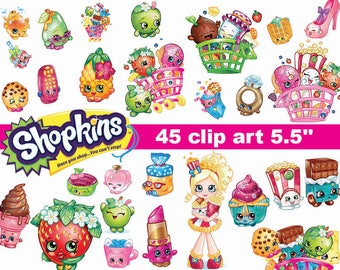45 Shopkins  Clipart - printable PNG Digital Clipart Graphic Instant Download