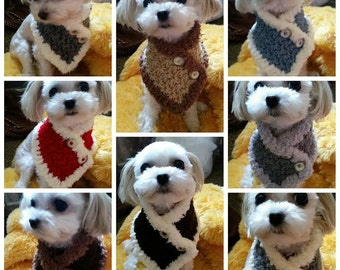 2 Small Dog Neck warmer/Scarf, Dog neck warmer,  Puppy scarf fits most S or M dogs, Cats