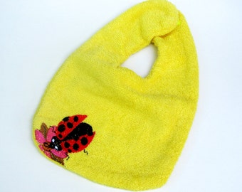 Embroidered Ladybug Baby Bib, Cute Terry cloth Bib, Bright Yellow,  Natural Terry,  Eco-friendly Bib