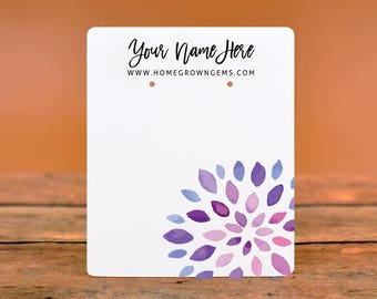 Customize Jewelry Earring Display Cards - Watercolor Mum Flower Abstract - Earring Necklace Bows -Packaging    DS0144