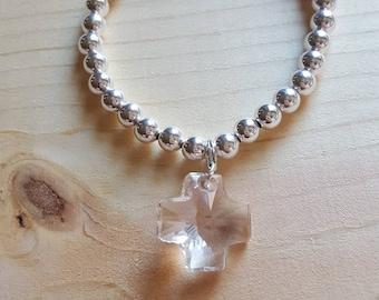 Swarovski Swiss Cross Sterling Silver Charm Bracelet