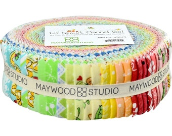 """Fabric Strips Lil Sprout Cotton FLANNEL Quilt Precut 2.5"""" Strips by Maywood Studio - 40"""