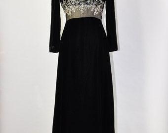 60s black velvet gown / 1960s rhinestone maxi dress / long sleeve party dress