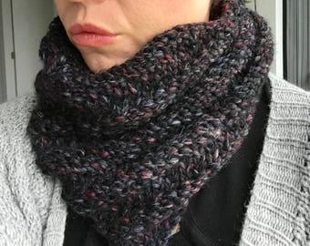 Ready to ship! Chunky Knit Cowl Infinity Scarf Black Heather