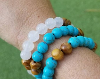 3 Turquoise & White Spring Bracelets