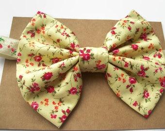 Big Baby Bow Headband, Baby Photography Props, Floral Fabric Bow, Baby Hair Bands, Toddler Hair Bows