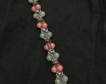 macramé waxed linen bracelet with Aventurine, watermelon quartz, wood and metal