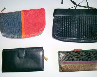 Vintage SHARIF Leather Lot of 4 Wallet makeup bag Cross body Handbag Purse