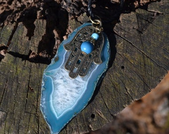 Blue Agate Hamsa Necklace
