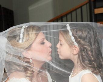 Flower girl headband, Hair Accessories, Headpiece, Child Headband, Wedding, Bridal Headband, Wedding Headband, Crystal, Rhinestone Headband