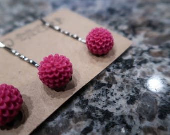 Dark Fuchsia Flower Bobby Pin Set - 3 Flower Bobby Pins