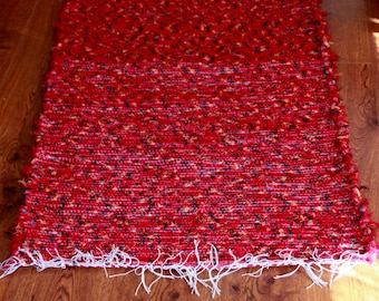 "Homemade Loom Woven Red With Black and Yellow Wool Shag Rug 30"" X 52"""