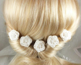 pins, hair flower white silk lace-set of 5 - Ombre, wedding, party, ceremony, made in France